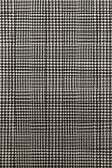 Italian Stretch Wool Glen Check in Black and White0