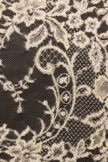 Beaded Metallic Chantilly Lace0