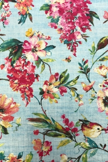 Linen Viscose Floral Birds Upholstery Print in Dream Blue0