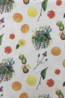 Textured Cotton With Fruits And Flowers Prints0