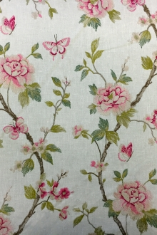 Poly Cotton Upholstery with Floral Embroidery0