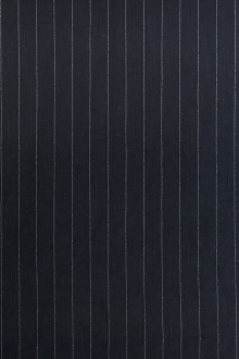 Stretch Linen Blend Striped Suiting in Navy0