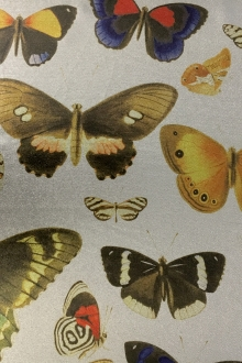 Printed  Silk and Poly Blend Crepe Lamé with Various Butterflies0