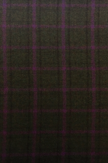 Italian Cashmere Tartan Plaid in Olive and Purple0