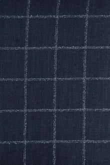 Italian Silk Linen Wool Blend Window Pane in Navy0