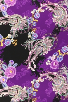 Printed Silk Charmeuse with Mixed Paisleys and Florals0