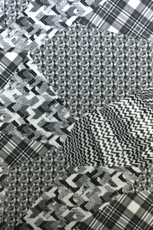 Handkerchief Linen Black And White Collage Digital Print0
