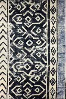 Linen Cotton Blend Upholstery With Tribal Stripe Print0