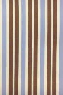 Wool Lycra Suiting Stripe in Brown and Blue0