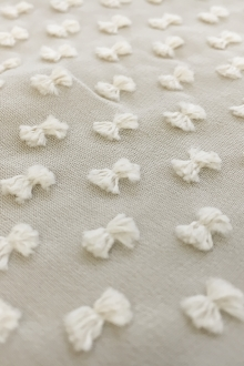 Silk and Cotton Swiss Dot Chiffon in Ivory0