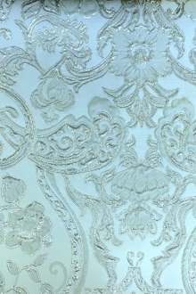 Silk Blend Metallic Cloqué Brocade with Rococo Floral Patterns0
