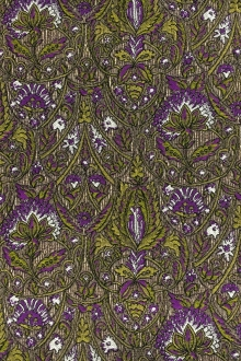 Silk Blend Metallic Matelasse with Floral Motifs0