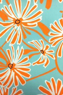 Stretch Pique Floral Print in Turquoise Orange0