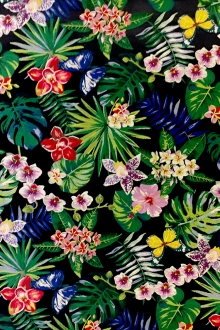 Polyester Jacquard Brocade with Colorful Tropical Florals0
