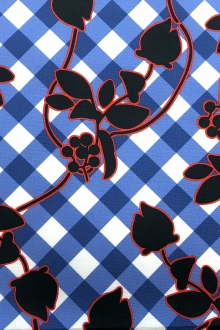 Stretch Cotton Faille Florals Over Plaid Print0