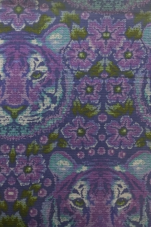 Cotton Broadcloth Purple Tiger Print0