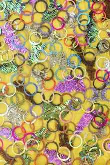Colorful Novelty Laser Cut Pailettes and Sequins on Crinkle Silk Chiffon0