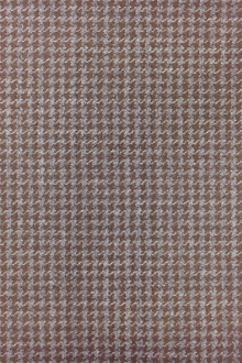 Italian Stretch Wool Houndstooth in Beaver and Grey0