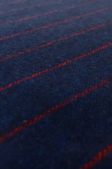 Italian Wool Flannel Stripe in Navy and Red0