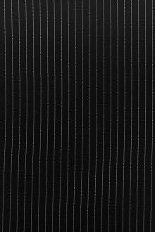 Poly Blend Flat Crepe Pinstripe in Black and White0