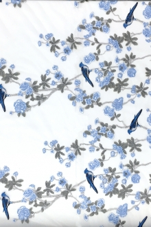 Metallic Embroidered Tulle with Birds and Flowers0