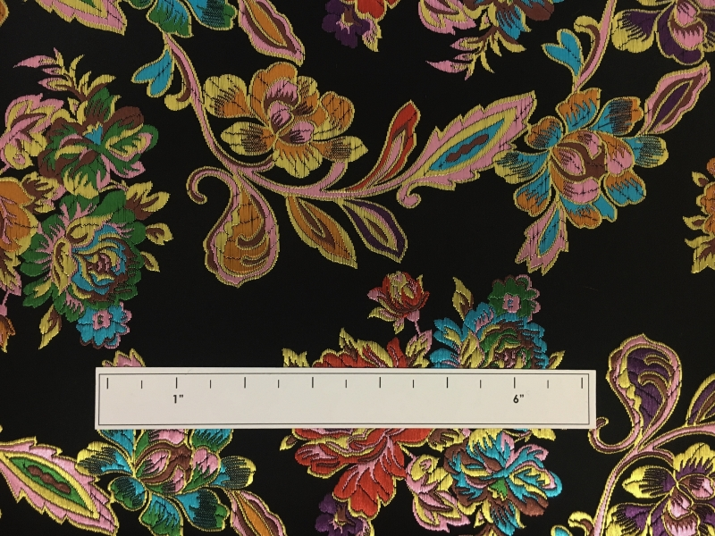 Heavy Jacquard Brocade with Colorful Florals 1