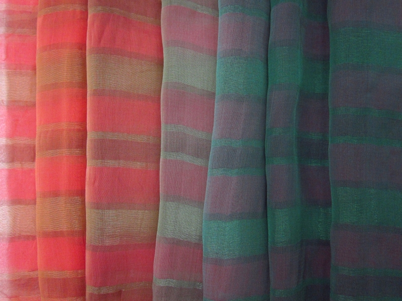 Striped Silk Lurex Ombré Chiffon0