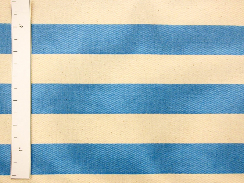 "Japanese Cotton Canvas 1.25"" Stripe In Blue And Natural1"