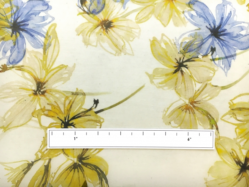 Printed Silk Organza with Painterly Florals1