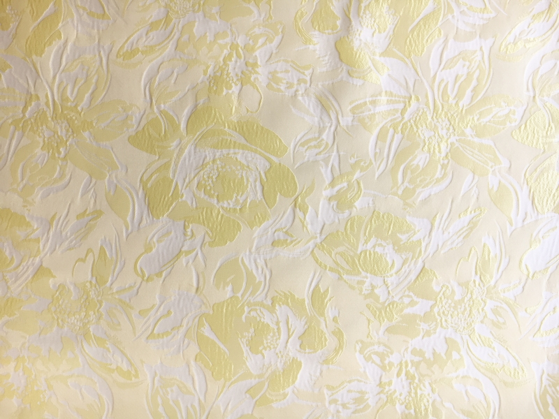 Polyester Floral Jacquard Brocade in Princess Yellow0