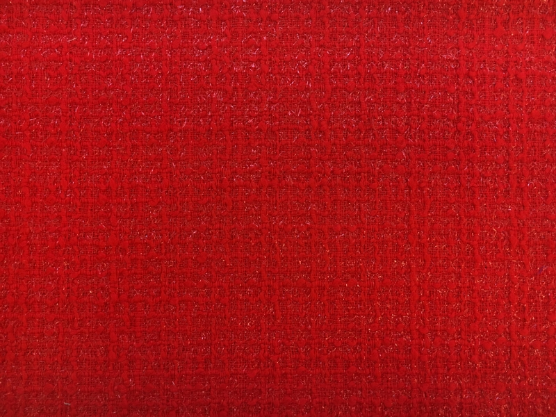 Wool and Nylon Lurex Tweed in Rosso Corsa 0