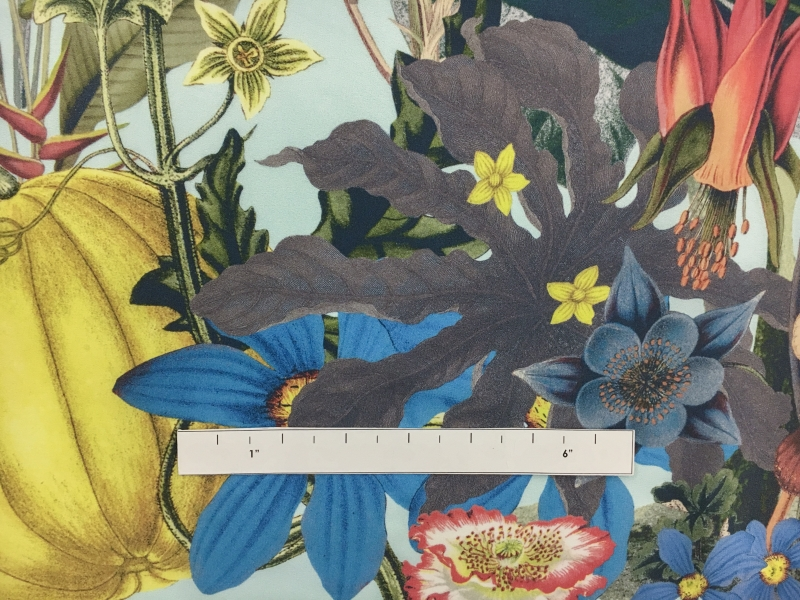 Jakob Schlaepfer Printed Silk Crepe de Chine with a Border of Large Leaves and Flowers1