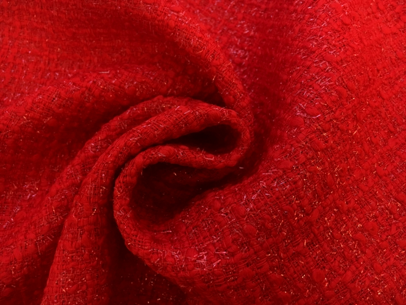 Wool and Nylon Lurex Tweed in Rosso Corsa 1