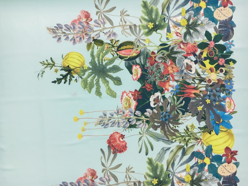 Jakob Schlaepfer Printed Silk Crepe de Chine with a Border of Large Leaves and Flowers0