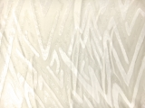 Ivory Silk and Lurex Burnout Velvet with Zig Zags0