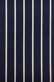Cotton Blend Stretch Pencil Stripe Shirting in Navy0