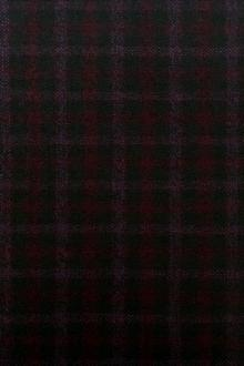 Italian Wool Bamboo Blend Plaid Suiting in Black and Wine0