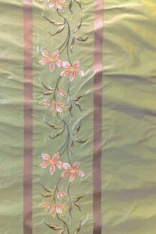 Iridescent Silk Taffeta with Satin Stripes and Embroidered Flowers0