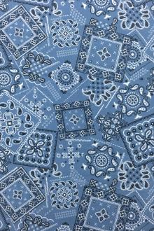 Japanese Cotton Paisley Print in Denim Blue0