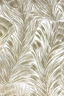 White Gold Feathers Silk Lurex Panne Velvet0