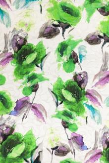 Silk and Cotton Blend Jacquard with Abstract Watercolor Lime Green Roses 0