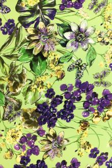 Double Georgette Viscose Print with Painterly Spring Flowers0