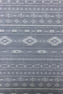 Cotton Chambray Jacquard With Navajo Pattern In Indigo0