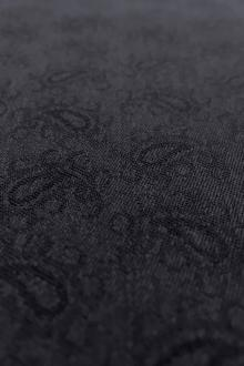 Italian Wool Lycra Paisley Jacquard Suiting in Navy0
