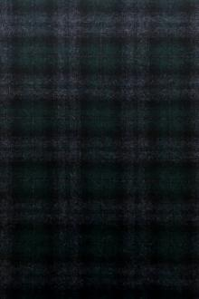 Italian Wool Cashmere Tartan Plaid in Green and Blue0