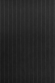 Stretch Linen Blend Striped Suiting in Black0
