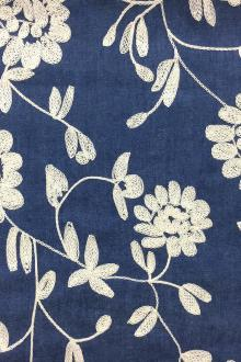 Cotton Denim With Floral Embroidery 0