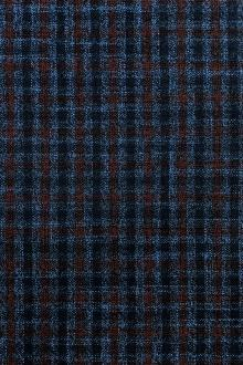 Wool Bamboo Tattersall Plaid Suiting in Blue and Wine0