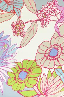 Printed Silk Twill with Illustrated Flowers0