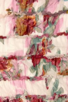 Printed Crinkle Silk Fluted Chiffon0